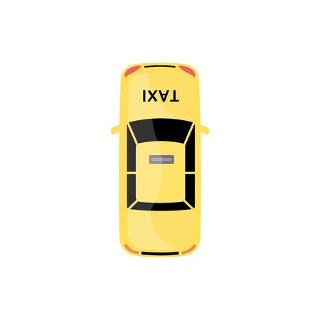 Yellow taxi car top view isolated on white background. Cartoon cab automobile seen from above drawn in flat modern style, colorful vector illustration
