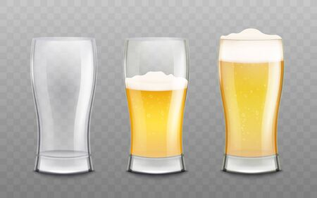Three glasses empty and differently filled with foamed beer the 3d realistic vector mockup illustration isolated on transparent background. Alcohol drink beverage object.