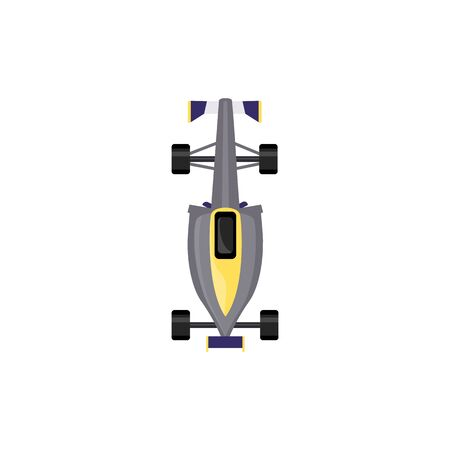Grey race car top view - isolated sport vehicle for auto speed sport competition in flat cartoon style seen from above, vector illustration on white background
