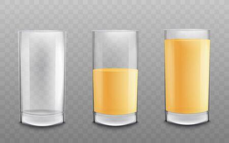Tre bicchieri vuoti e riempiti in modo diverso con succo o altra bevanda di colore giallo l'illustrazione realistica di vettore 3d isolata su sfondo trasparente. Vettoriali