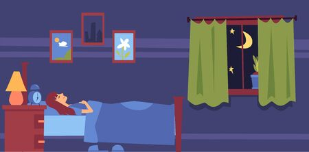 Young woman sleeping in bed on a pillow under the blanket in the bedroom at night. Night sleep and rest of a girl or woman in the bedroom, flat cartoon vector illustration. Vettoriali