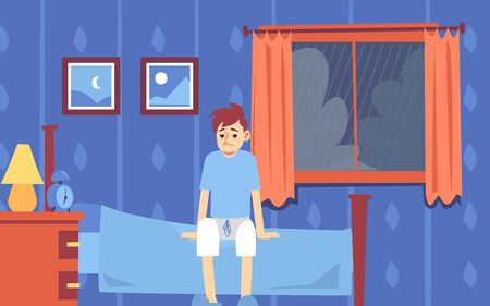 Sad sleepy man or guy woke up in the bedroom and sat on the bed, the window bad weather and rain in the morning. Vector flat cartoon illustration.