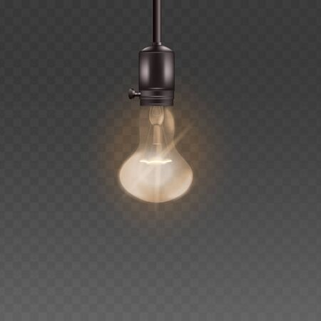 Light bulb or electric lamp in retro pear shape hanging from the ceiling 3d realistic vector illustration isolated on the transparent background. Vintage interior lightbulb.