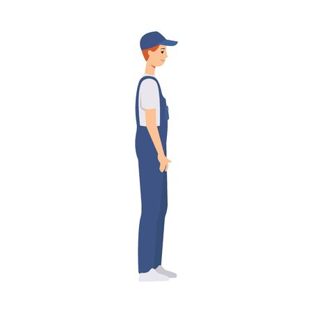 Delivery man, courier and worker in work overalls and a cap stands side view. Caucasian male courier or brown haired delivery man. Isolated flat vector illustration in cartoon side view style. Çizim