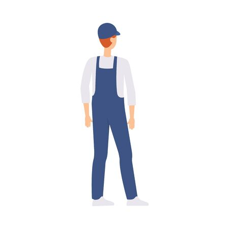Caucasian male courier or brown haired delivery man stands with his back half a turn. Isolated flat vector illustration in cartoon side view style. Illustration