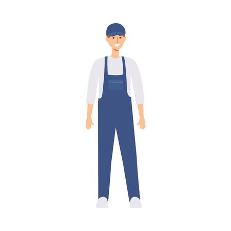 Delivery man or worker in uniform and a cap stands in front view. Young caucasian male courier or brown haired deliveryman smiles. Isolated flat vector illustration in cartoon front view style.