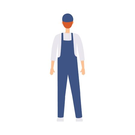 The delivery man, courier and uniformed worker has a view from the back. Isolated flat vector illustration in cartoon back view style.