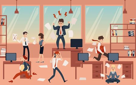 The concept of office chaos in business with the boss, businessmen and employees before deadline. Chaos and office disorder, angry and busy, running and meditating employees, flat cartoon vector illustration. Иллюстрация