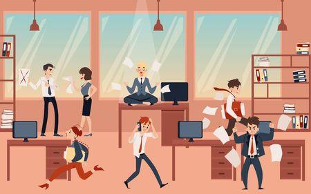 Joven rubia meditando y practicando yoga, mantén la calma y el equilibrio en el caos de la oficina antes de la fecha límite. Una mujer sentada en una mesa en posición de loto, ilustración vectorial de dibujos animados plana. Ilustración de vector