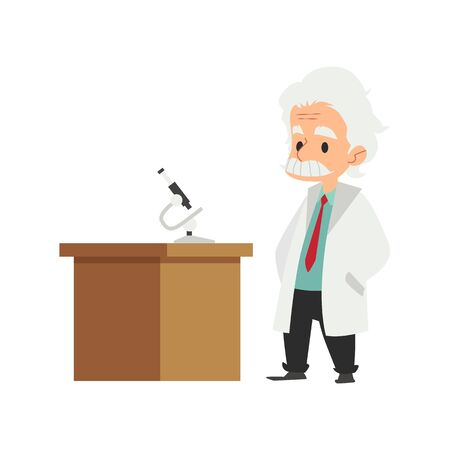 An old man, a scientist and professor in a lab coat comes to the table in the laboratory with a microscope. Science character concept, scientist doctor or medic. Flat cartoon vector illustration.