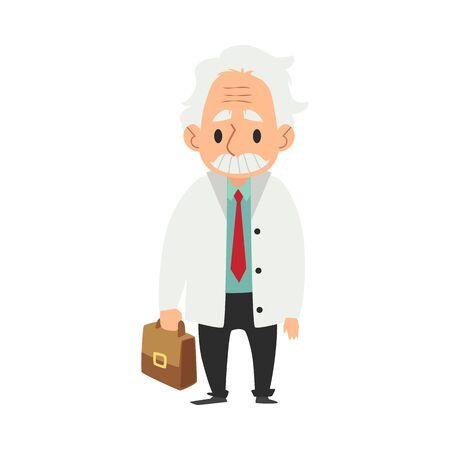 Ein alter Mann mit Schnurrbart, ein Wissenschaftler und ein Professor in einem Laborkittel, der mit einer medizinischen Tasche in seiner Hand steht, flache Karikaturillustration des Vektors Quadratischer Plan.
