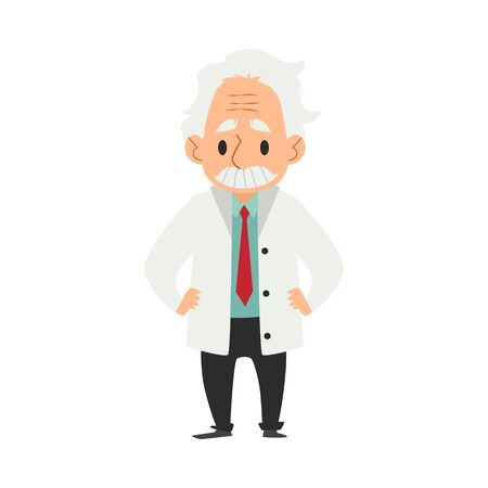 An old wise man with a mustache, a scientist and a professor or doctor is standing. Character concept of scientist and professor, flat cartoon vector illustration.