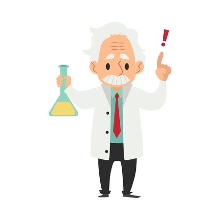 An old wise man with a mustache, a scientist or chemist conducts a scientific experiment or test with a flask. Cartoon character scientist and professor. Flat vector isolated illustration.