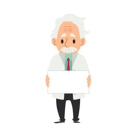Old male scientist in white coat stands holding blank sign cartoon style, vector illustration isolated on white background. Senior professor or doctor man or lab worker with empty template board