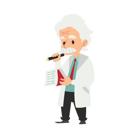 Professor or scientist at laboratory writing idea in a notebook cartoon character flat vector illustration isolated on background. Discovery and science experiment concept.