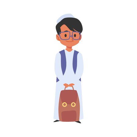 Cute arab or islamic boy with backpack goes to school cartoon character the concept of education in various religions, flat vector illustration isolated on white background.