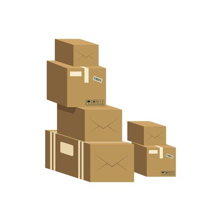 A pile of closed brown cardboard boxes. Packaging cardboard boxes for delivery and shipping. Isolated flat vector illustration. Ilustração