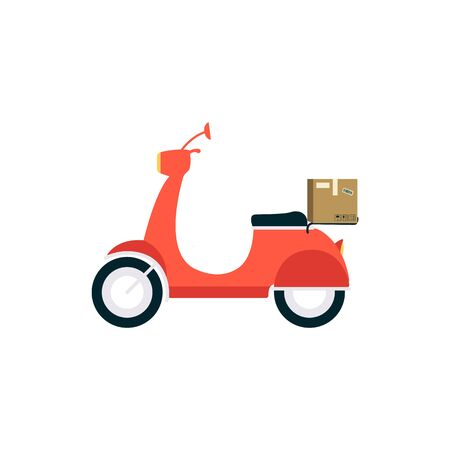 Red delivery scooter, a sign and a vehicle symbol with a cardboard box. A transport carries and delivers a cardboard box. Isolated flat vector illustration of scooter delivery. Stock Illustratie