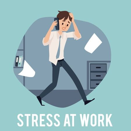 A young busy man experiencing stress at work because of the deadline and office chaos. Male office employee is very busy, stressed and talking on the phone at work, flat cartoon vector illustration. Illusztráció