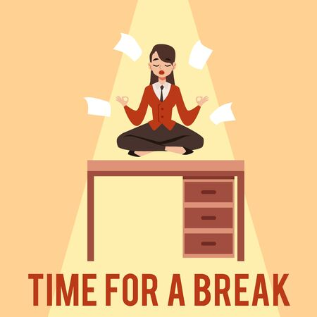 Time for a break. A young woman or girl focuses, meditates and sits in the lotus position on a table in the workplace under a beam of light among the papers. Flat cartoon office vector illustration.
