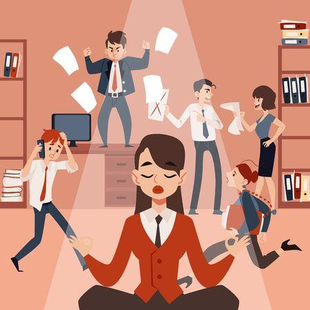 Una giovane donna o ragazza medita nella posizione del loto e si rilassa, mantiene la calma e l'equilibrio nel mezzo del caos dell'ufficio e dei dipendenti rumorosi e stressanti. Illustrazione piana di vettore. Vettoriali