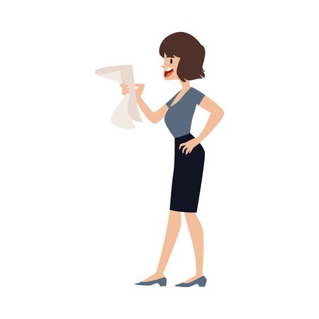 Nervous angry woman employee in office clothes is stressful, clutching a document in her hands, cursing and screaming. The concept of stress and chaos in the office, vector flat illustration.