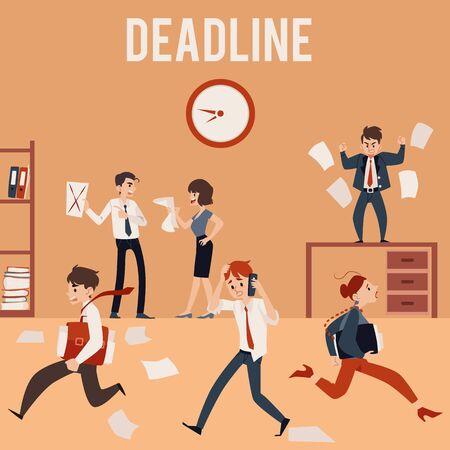 El concepto de fecha límite de oficina y caos, los empleados están ocupados y nerviosos, estresados y enojados, gritando y corriendo. Ilustración plana de la fecha límite del negocio del vector.