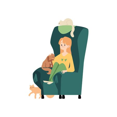 Young woman sits in cozy armchair with cats and stroking kitten cartoon style, vector illustration isolated on white background. Female in comfortable home chair resting with her pet animals Çizim
