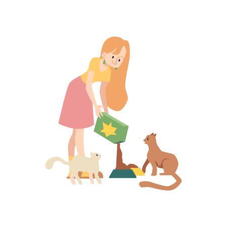 La donna sta versando cibo per gatti dalla scatola alla ciotola per nutrire i suoi animali domestici in stile cartone animato, illustrazione vettoriale isolato su sfondo bianco. La gattara e l'ora di mangiare per i suoi gattini Vettoriali