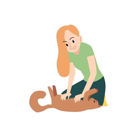 Woman is kneeling and strokes cat stomach cartoon style, vector illustration isolated on white background. Female sits on floor and petting kitten which lying on back or plays with it