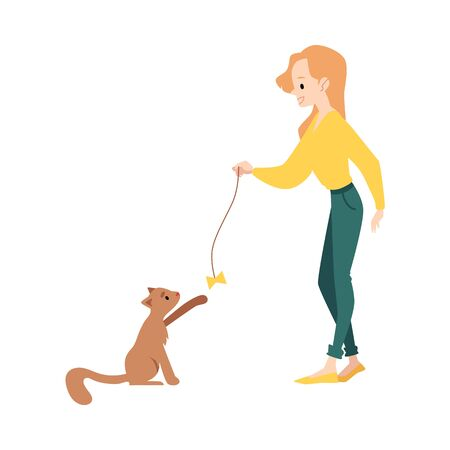 Woman stands playing with cat by teaser toy cartoon style, vector illustration isolated on white background. Cute pet sitting and catching bow toy on string with paw raised up Illustration