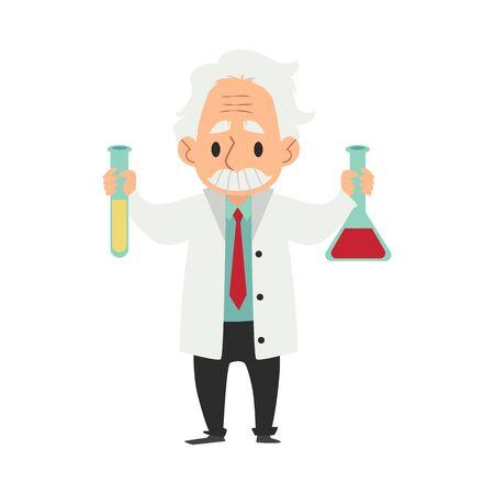 Vecchio scienziato in camice da laboratorio con pallone e tubo personaggio dei cartoni animati piatto illustrazione vettoriale su sfondo colorato. Professore o chimico che sperimenta o fa scoperte. Vettoriali