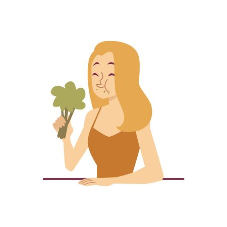 Woman with broccoli on a diet or trying to lose weight with a displeased face flat vector illustration isolated on white background. Healthy food and diet nutrition.