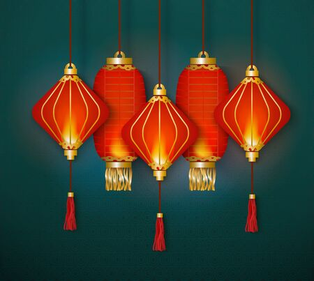 A group of red paper Chinese lanterns hangs and glows together on a turquoise background, vector illustration. Illustration