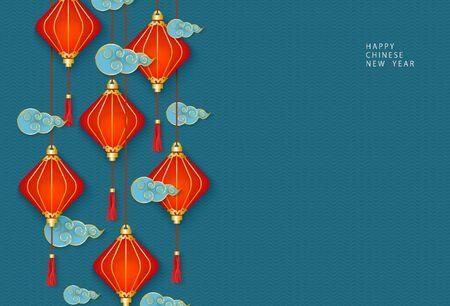 Hangende oosterse Chinese rode lantaarns of lampen en traditionele decoratieve wolken op een blauwe achtergrond. Sjabloon voor gefeliciteerd met de viering van het Chinese Nieuwjaar. Vector illustratie.