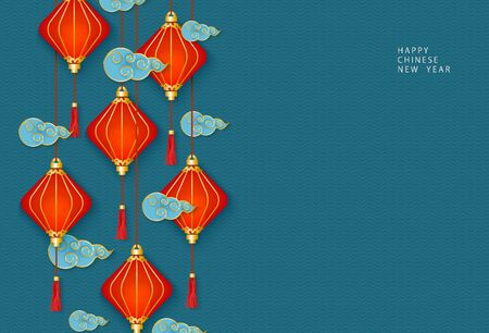 Hanging oriental Chinese red lanterns or lamps and traditional decorative clouds on a blue background. Template for congratulations on the celebration of the Chinese New Year. Vector illustration.