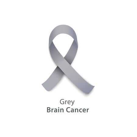 Grey ribbon for brain cancer awareness charity event, respectful symbol of solidarity with survivors of disease, vector illustration isolated on white background Illustration