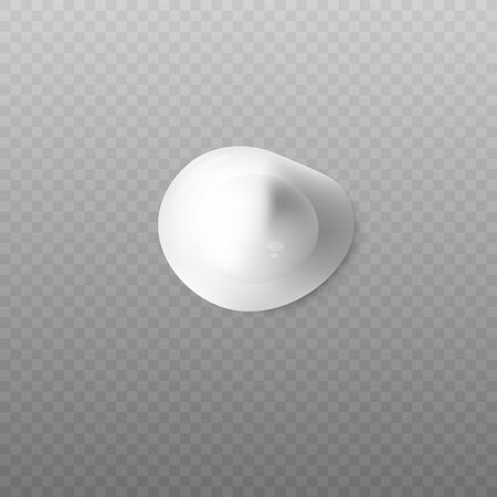 Realistic blop of body cream top view on transparent background. Drop or blob of cream, foam or lotion for skin and face care, vector realistic illustration on transparent background.