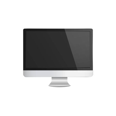 Realistic modern silver computer monitor mockup with blank black screen, metal flat PC display with 3D effect isolated on white background - vector illustration Illustration