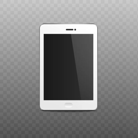 Blank tablet or mobile phone screen 3d realistic vector mockup illustration isolated on transparent background. Modern digital device display to present web and UI design.