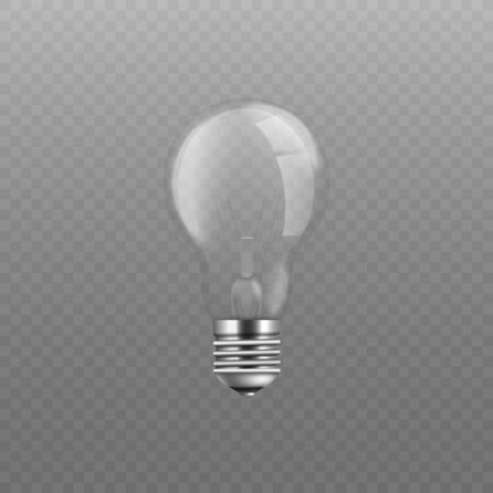 Standard incandescent light bulb without electricity, screw base glass lightbulb - symbol of idea, inspiration, power and energy isolated on transparent background, vector illustration
