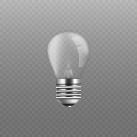 Realistic glass screw light bulb without power. Electricity current invention and idea inspiration sign - isolated lightbulb turned off, vector illustration Illustration
