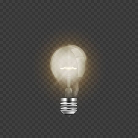 Realistic lit light bulb isolated on transparent background. Electric glass screw lightbulb lamp turned on and giving warm electricity light, 3D texture on power symbol - vector illustration Illustration
