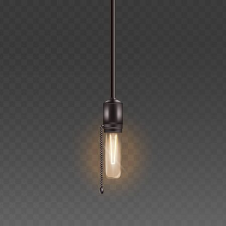 Electric light bulb or glass lamp hanging on the cord with chain retro style realistic vector illustration isolated on the transparent background. The symbol of the power and idea. Ilustração