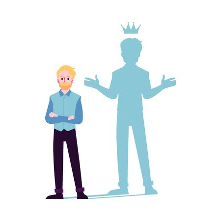 Businessman or man motivated for success with shadow of king in the crown flat vector illustration isolated on white background. Leadership and superpower challenge.