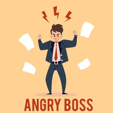 Angry business man stands raised fists with lightnings above head cartoon style, vector illustration isolated on color background. Furious outraged mad male boss is frowning surrounded by papers