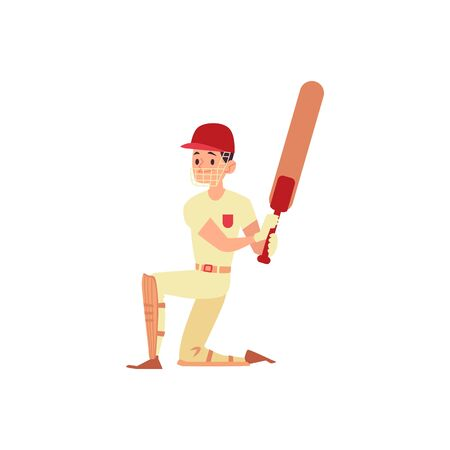 Man in cap and sport uniform stands on a knee holding cricket bat cartoon style, vector illustration isolated on white background. Male cricket player or batsman in face shield and knee pads