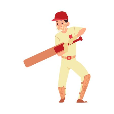 Man in cap and sport uniform stands holding cricket bat cartoon style, vector illustration isolated on white background. Male cricket player or batsman in face shield and knee pads Ilustração