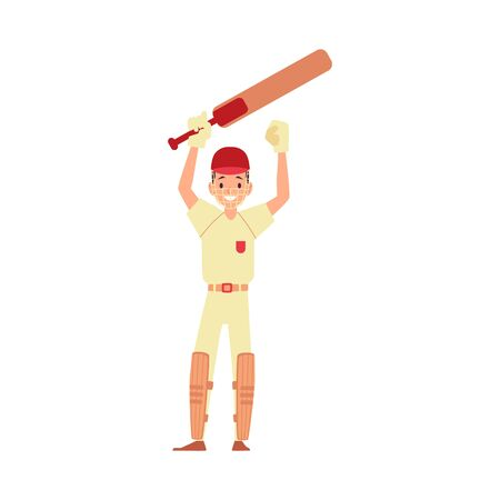 A man cricket player, cricketer and batsman raised his hands with a bat and rejoices. Cricket game, sport character and sportsman. Isolated flat cartoon vector illustration on white background. Ilustração