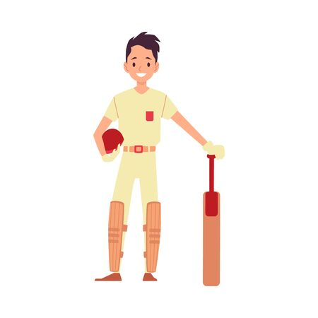 A man cricket player, cricketer and batsman stands by taking a helmet in his hands and leaning on a bat. Isolated flat vector sport cricket illustration on white background. Ilustração